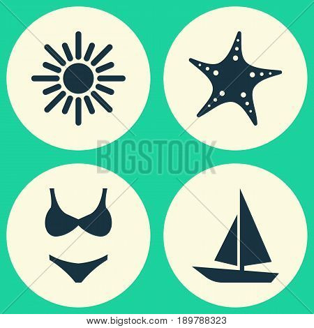 Season Icons Set. Collection Of Bikini, Ship, Sunny And Other Elements. Also Includes Symbols Such As Bikini, Starfish, Fish.