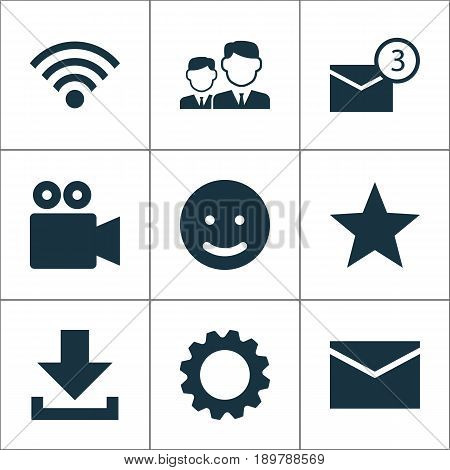Internet Icons Set. Collection Of Inbox, Wireless Connection, Star And Other Elements. Also Includes Symbols Such As Wireless, Down, Favorite.