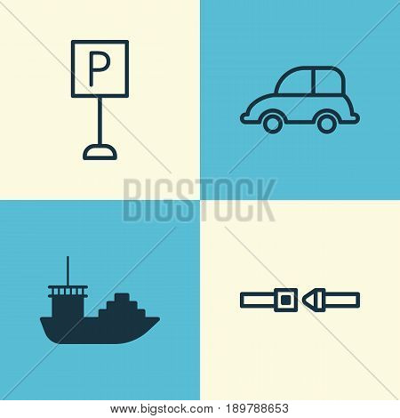 Vehicle Icons Set. Collection Of Auto Car, Safety Belt, Tanker And Other Elements. Also Includes Symbols Such As Parking, Protection, Seatbelt.