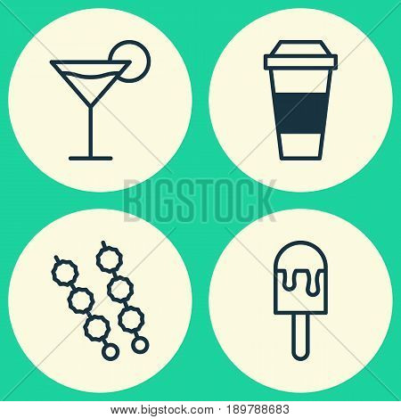 Eating Icons Set. Collection Of Cocktail, Stick Batbecue, Lolly And Other Elements. Also Includes Symbols Such As Cocktail, Coffee, Martini.