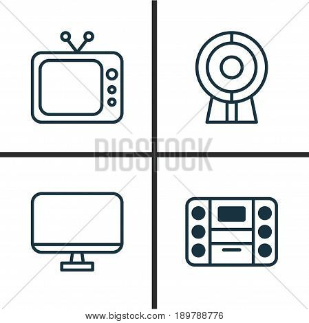 Hardware Icons Set. Collection Of Computer Monitor, Web Discussing, Boombox And Other Elements. Also Includes Symbols Such As Music, Tv, Television.