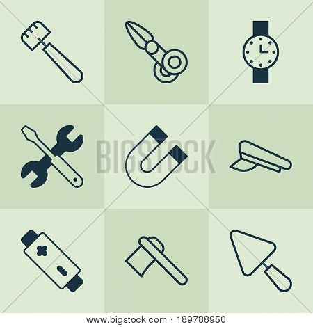 Tools Icons Set. Collection Of Cop Cap, Timer, Alkaline And Other Elements. Also Includes Symbols Such As Accumulator, Spatula, Repair.