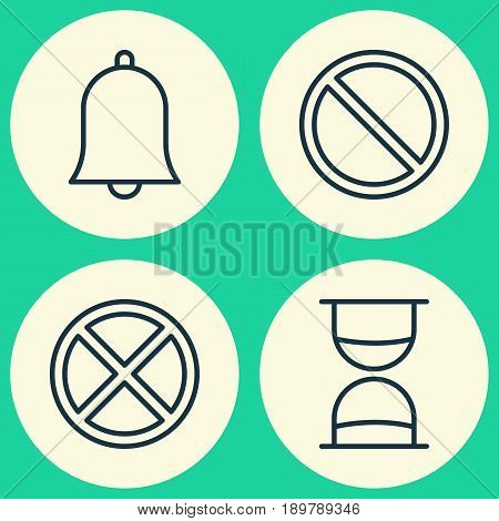 Icons Set. Collection Of Exit, Alert, Hourglass And Other Elements. Also Includes Symbols Such As Siren, Obstacle, Exit.