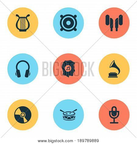 Audio Icons Set. Collection Of Phonograph, Earmuff, Earphone And Other Elements. Also Includes Symbols Such As Lover, Harp, Music.