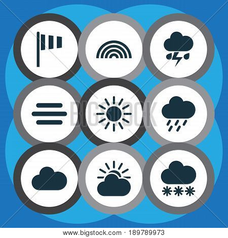 Weather Icons Set. Collection Of Haze, Douche, Snowy And Other Elements. Also Includes Symbols Such As Weather, Cloudy, Rainbow.