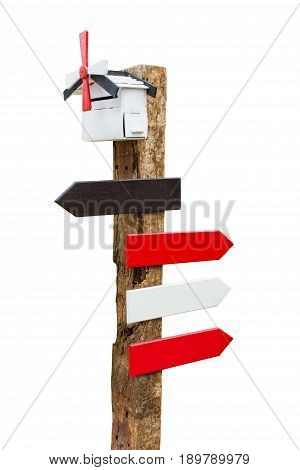 Empty wooden sign on white background. signpost