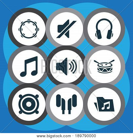 Audio Icons Set. Collection Of Dossier, Sound, Silence And Other Elements. Also Includes Symbols Such As Sound, Headset, Folder.