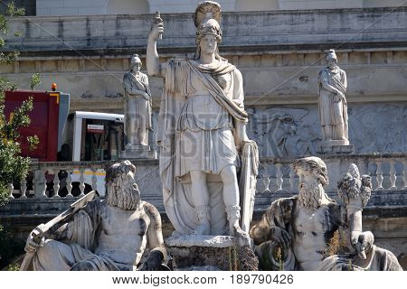 ROME, ITALY - SEPTEMBER 03: Pincio Terrace, goddess Roma between Tiber and Aniene, Piazza del Popolo in Rome, Italy on September 03, 2016.