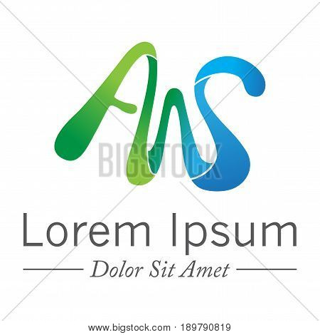 colorful Letter AWS vector initial logo symbol