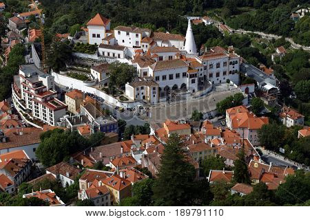SINTRA, PORTUGAL - MAY 10, 2017: National Palace of Sintra, the best-preserved medieval royal residence in Portugal. Since 1995, the cultural landscape of Sintra is listed as UNESCO World Heritage
