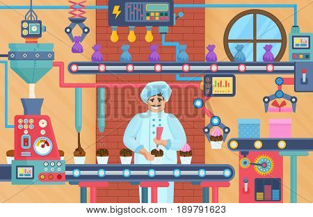 Cupcake sweets factory with confectioner. Chocolate conveyor factory vector illustration