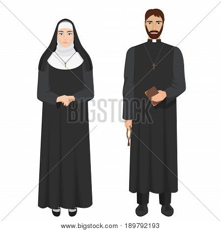 Catholic priest and nun. Realistic vector illustration