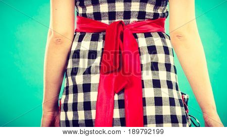 Retro Checked Dress With Red Bow