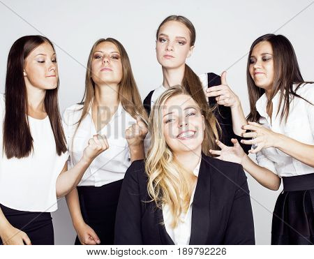lot of businesswomen happy smiling celebrating success of team victory on work, dress code black and white official, lifestyle real working people concept close up