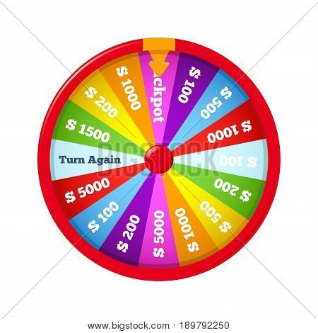 Vector stock of a wheel of fortune over a white background