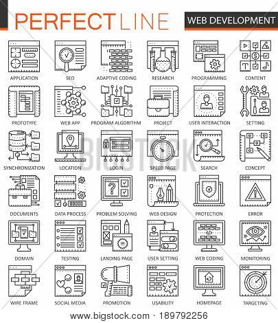 SEO and development outline concept symbols. Perfect thin line icons. Modern stroke linear style illustrations set