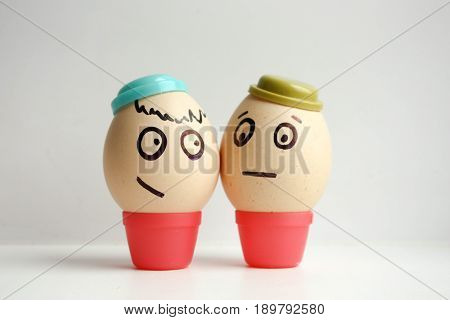 Eggs With Painted Face. Concept Best Friends