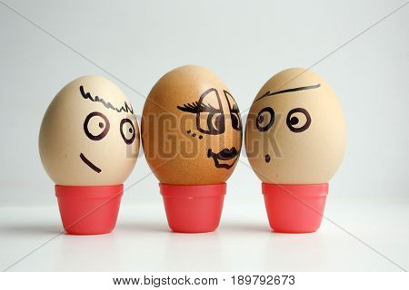 Eggs With Painted Face. Concept Of Love