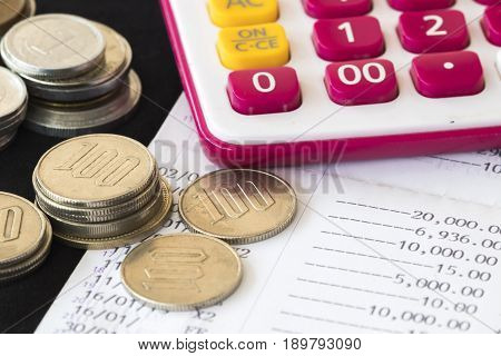 coins money with passbook bank for financial