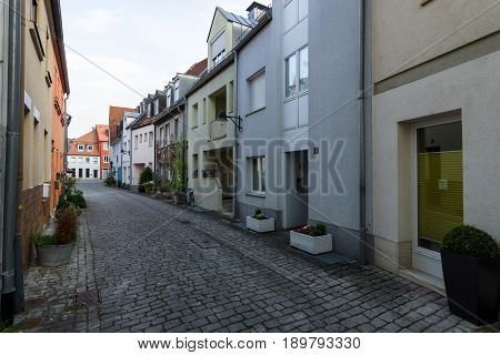 SCHWEINFURT GERMANY - APRIL 21 2017: Old streets in the historic part of the city. Schweinfurt - a medieval city founded in 761 year.