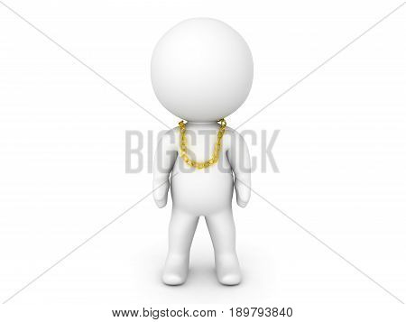 3D Character With Small Gold Chain Around His Neck