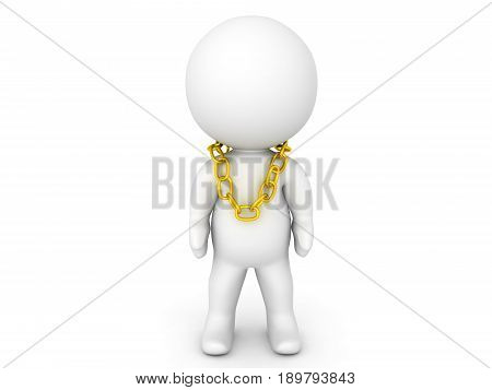 3D Character With Large Gold Chain Around His Neck