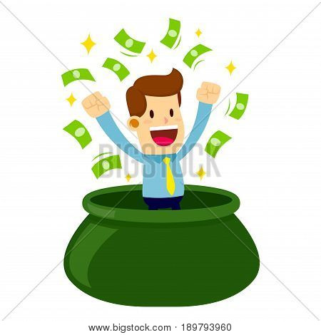 Vector stock of a businessman coming out from bag full of money