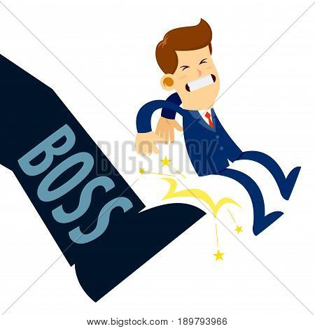 Vector stock of a businessman being kicked out by boss foot