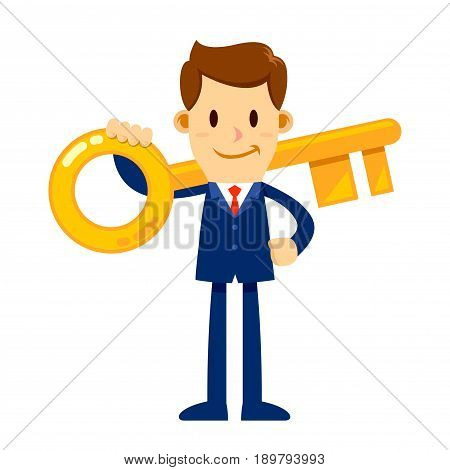Vector stock of a businessman holding big golden key to success