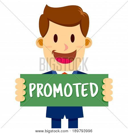 Vector stock of a businessman with a happy face holding promoted sign