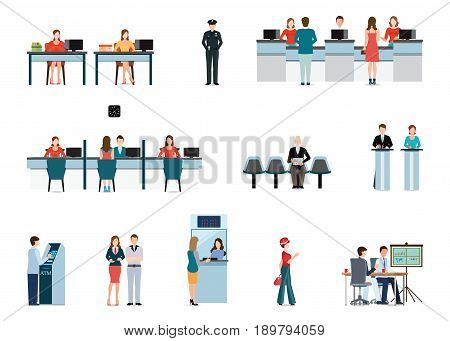 Public access to financial services to banks isolated on white bank interior counter desk cashier consulting presenting Banking concept vector illustration.