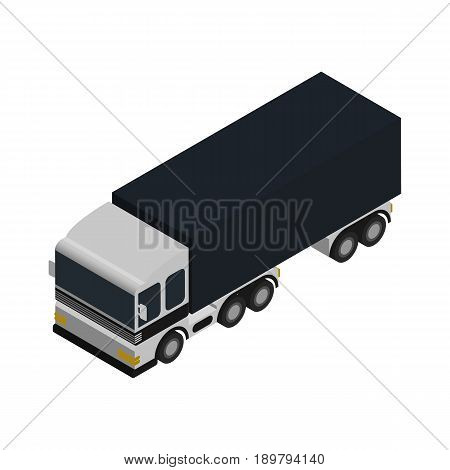 Commercial freight truck isometric icon. Modern lorry truck side view, vehicle for cargo transportation, trucking and delivery service vector illustration