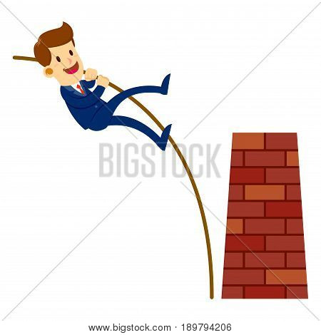 Vector stock of a businessman holding a pole leaping over an obstacle brick wall