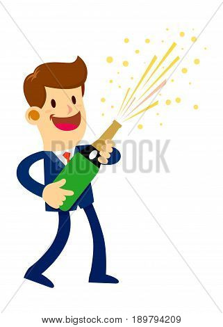 Vector stock of a businessman holding a bottle of champagne celebrating a success