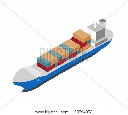Isometric shipping icon with container ship. Worldwide delivery service vector illustration isolated on white background.