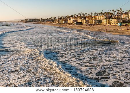 The beach at dusk in the city of Oceanside, California.