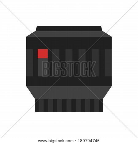 Camera photo lens icon. Optical photo equipment, professional zoom lens isolated vector illustration in flat design.