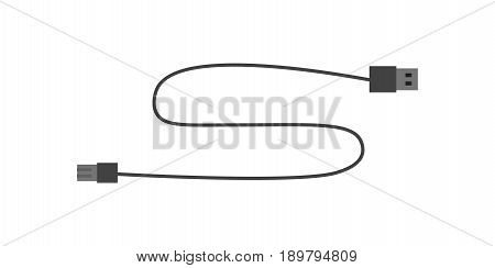 USB cord for digital photo camera icon. Modern photo equipment isolated vector illustration in flat design.