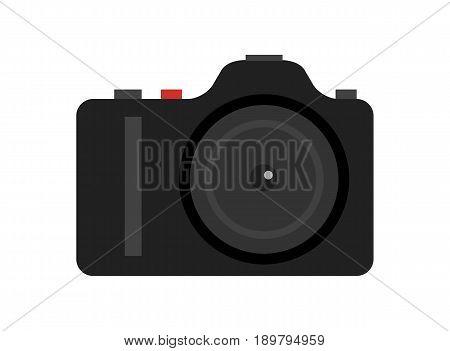 Professional digital photo camera icon. Optical photo equipment isolated vector illustration in flat design.