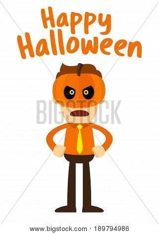 Vector stock of businessman wearing Jack Lantern halloween mask