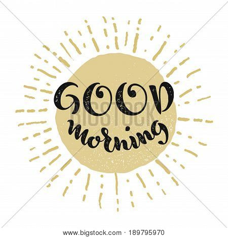 Good morning. Vector lettering. Smiling sun. Eps8 RGB Global color