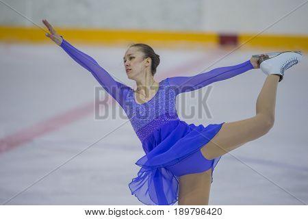 Minsk Belarus -April 23 2017: Unidentified Female Figure Skater Performs Adult Ladies Free Skating Program at Minsk Arena Cup 2017 International Figure Skating Competition in April 23 2017 in Minsk Belarus