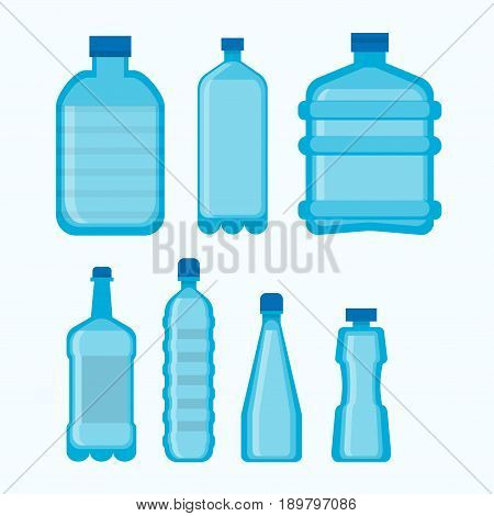 Plastic bottles set in different shapes or empty transparent containers with lids for water, juice or soda drinks. Vector isolated icons template