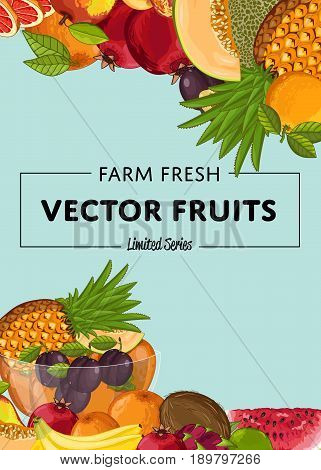 Fresh organic fruit poster vector illustration. Natural product, juicy fruit, healthy nutrition, organic farming, vegan food. Pineapple, melon, pomegranate, peach, coconut, apple, watermelon, plum