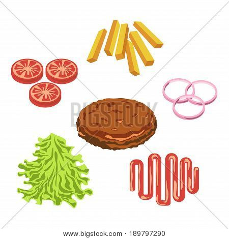 Cheeseburger, hamburger or fast food burger constructor ingredients and fillings meat cutlet, sesame bun or lettuce vegetable and sauce. Vector flat isolated icons for fastfood menu infographics
