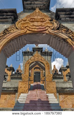 Archway And Stairs Leading Up To Chedi Hin Sai, A Huge Complex Of Sandstone Stupas Resembling Borobu