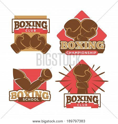 Boxing club championship logos templates for boxer school tournament. Vector isolated labels set of arm in box glove with knockout and stars
