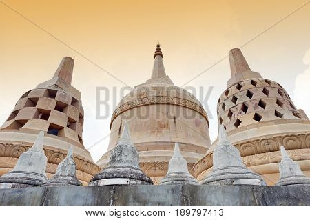 Chedi Hin Sai, A Huge Complex Of Sandstone Stupas Resembling Borobudur At Wat Pa Kung Temple In Si S