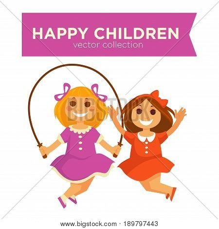 Happy little girls jumping on jump rope. Children or kids playing outdoor games vector isolated flat icons