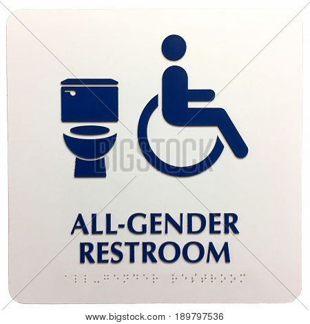 All gender generic bathroom plaque sign indicating handicap accessible. Braille alphabet along the bottom for visually impaired. Isolated on white background